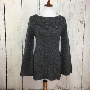 Trina Turk Gray Boat Neck Shimmery Sweater Size M